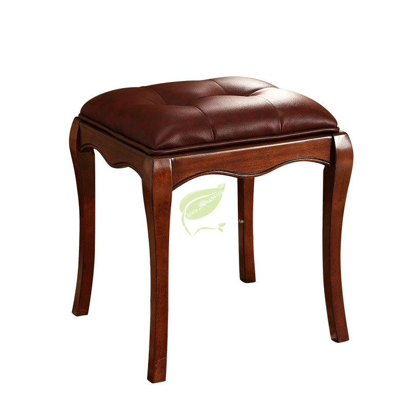 European Style Dressing Stool Makeup Solid Wood Shoe Stool American Guzheng Stool Piano Stool Furniture Free Shipping