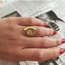 New Vintage Engraved Personality Opening Evil Eye Gold Finger Rings For Women Ladies Accessories Jewelry Gift
