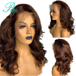 13X4 Invisible 150% Color #4 Wavy Lace Front Human Hair Wigs For Black Women Closure Pre Plucked With Baby Hair Brazilian Remy