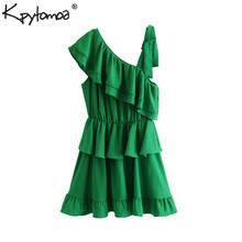 Vintage Sexy Bow Tied Ruffles Irregular Mini Dress Women 2019 Fashion Sleevless Elastic Waist pleated Stylish Dresses Vestidos(China)
