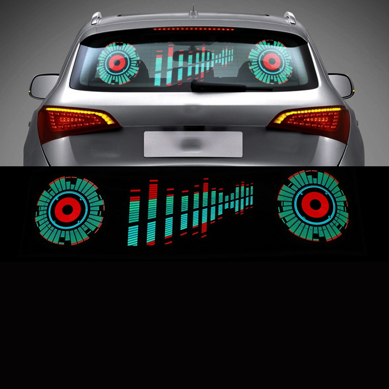 Car Windshield LED Sound Activated Equalizer Neon EL Light Music Rhythm Flash Lamp Sticker Styling with Control Box
