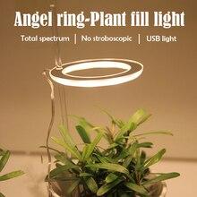 Светодиодный светильник фитолампа полного спектра для растений, Usb-кольцо с ангелом для комнатных растений, теплиц, культиваторов, гидропон...