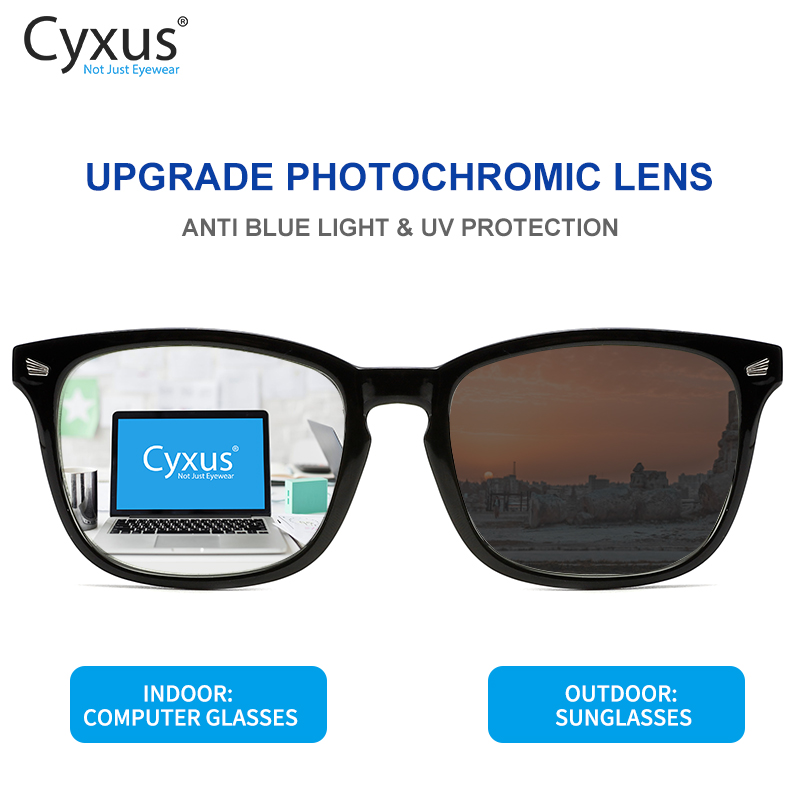 Cyxus Photochromic  Blue Light Blocking Glasses For Men Women Reduce Eye Fatigue Outdoor Anti Glare UV400-8382