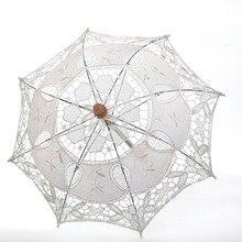 Vintage hecho a mano fiesta decoración nupcial para la boda Anti-UV encaje Parasol mango paraguas encaje paraguas decorativo caliente A30731