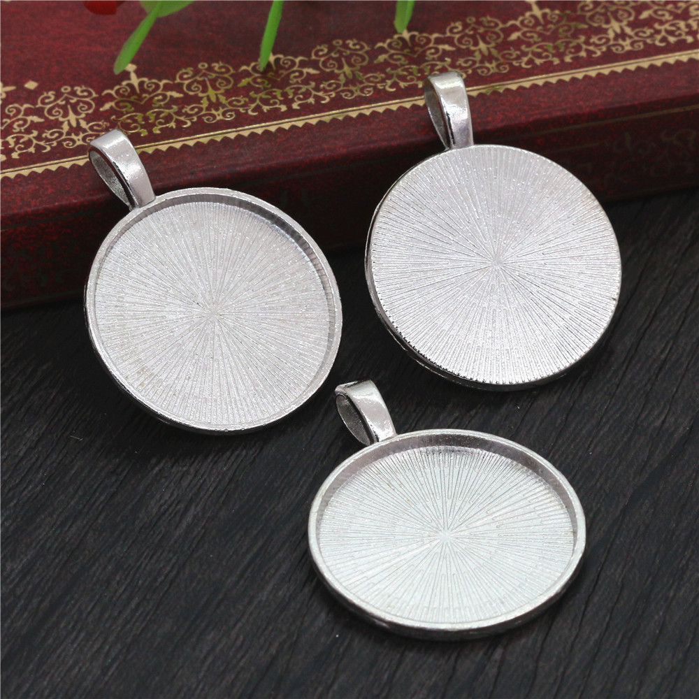 New Fashion 10pcs 25mm Inner Size Rhodium Colors Classical Cabochon Base Setting Charms Pendant (A7-08)