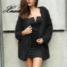 цена на Faux Fur Hooded Jacket Women Autumn Winter Fur Jacket Female Casual Furry Coat Streetwear Outwear