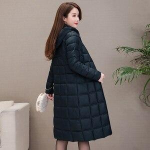 Image 4 - 2020 yeni kışlık ceketler kadın artı boyutu 4XL rahat kapşonlu sıcak pamuk yastıklı ceket kadın uzun şişme ceket kadınlar Parkas kabanlar