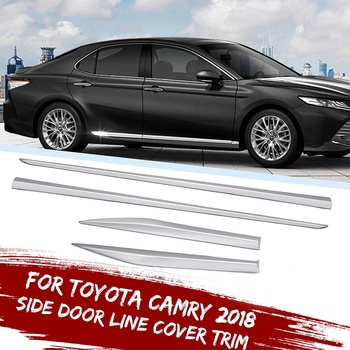 4 Pcs Chrome Surface Side Door Line Body Molding Garnish Trim Cover Protector Car Styling Accessories For Toyota Camry 2018-2019