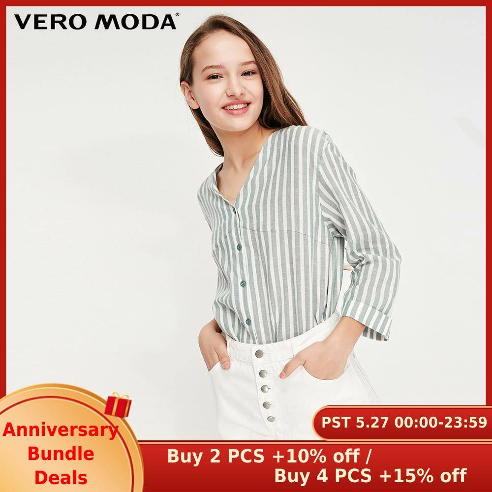 Vero Moda Women's Striped Lace-up Back 3/4 Sleeves Shirt | 319231551