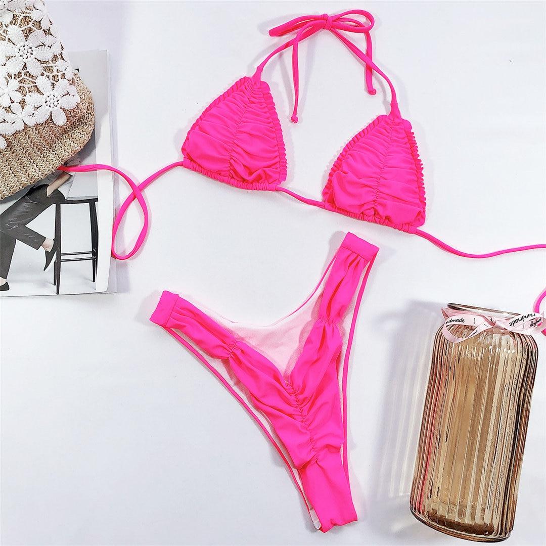 Les Femmes Deux Pi/èCes Hors /éPaule Volante Volants Crop Bikini Top avec Impression Cut Out Maillot De Bain Femme