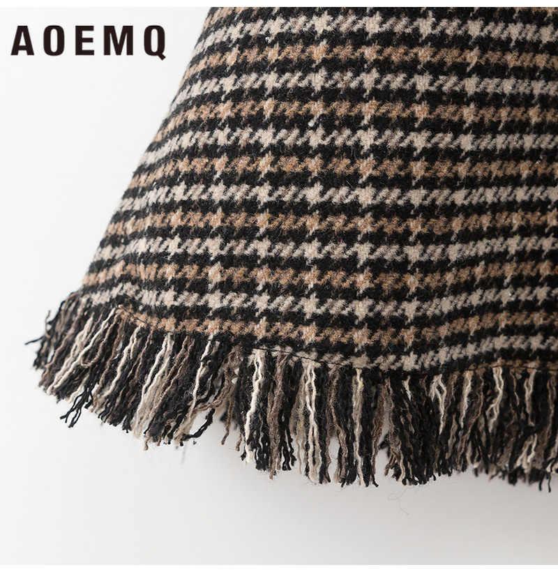AOEMQ moda etekler kış noel kalın delik püskül etekler gri ekose baskı sıcak kadın dipleri cep etek giyim