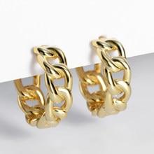 Rock-Punk Hip Hop Stil Link Kette Hoop Ohrringe Gold Silber Farbe Weibliche 925 Sterling Silber Ohrringe Ohr Durchbohrt Huggie bijoux