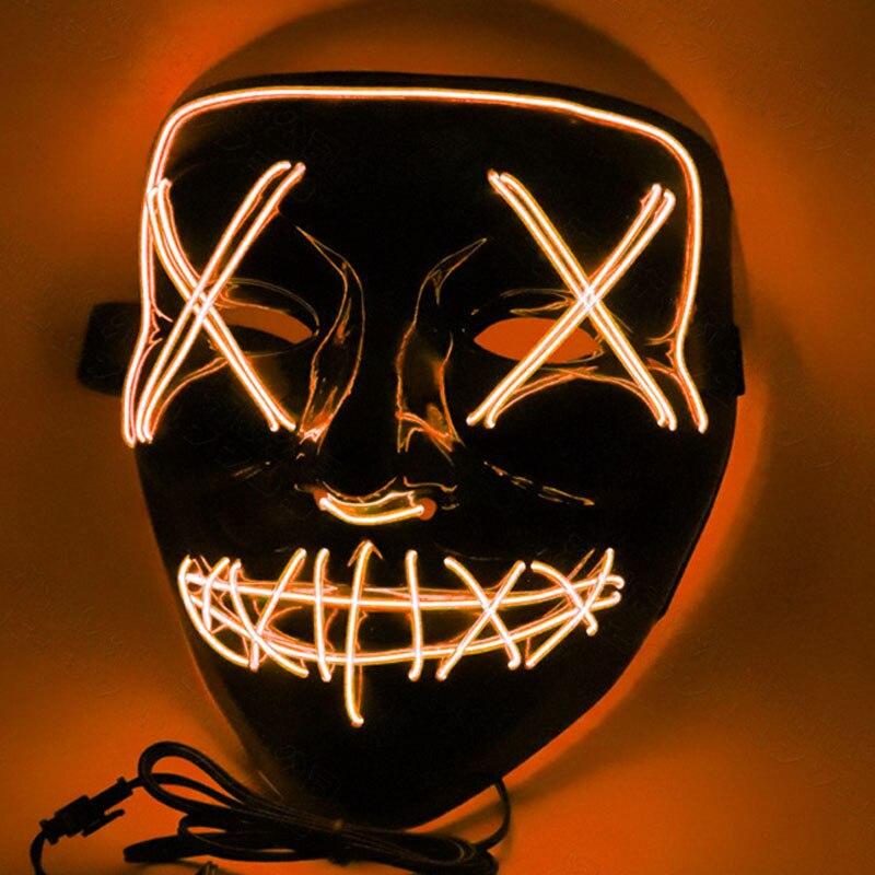 1 шт. светящаяся маска светодиодный светящийся Вечерние Маски для разминки год для выбора Большие Смешные Маски фестиваль Косплей Костюмные принадлежности Светящиеся в темноте - Цвет: H02