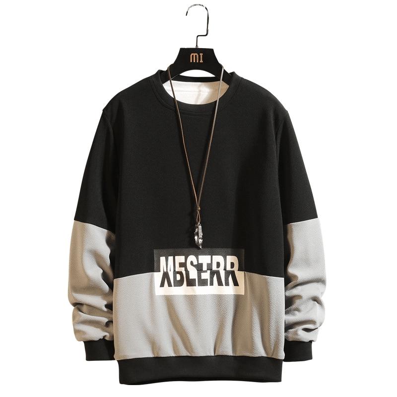 Men Casual Sweatshirt Patchwork Hip Hop Letter Print Hoodie Steetwear O-neck Long Sleeve Male Pullovers Black Gray M-4XL,ZA250