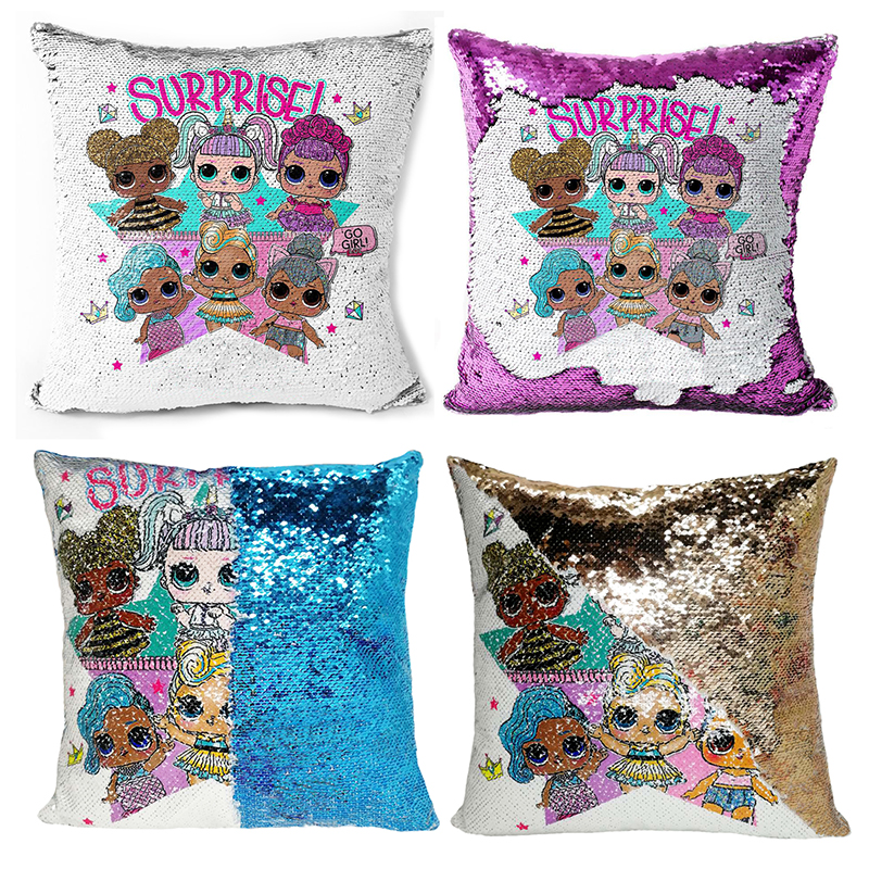 Pillowcase Lol Doll Surprise Cushion Cover New Two-color Sequin  Child Bedroom Sofa Anime Figure Pillowcase 40x40cm