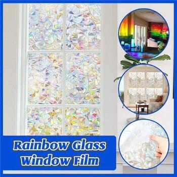 Tęcza odblaskowa folia okienna 3D Decor prywatność statyczna przylega szklana naklejka