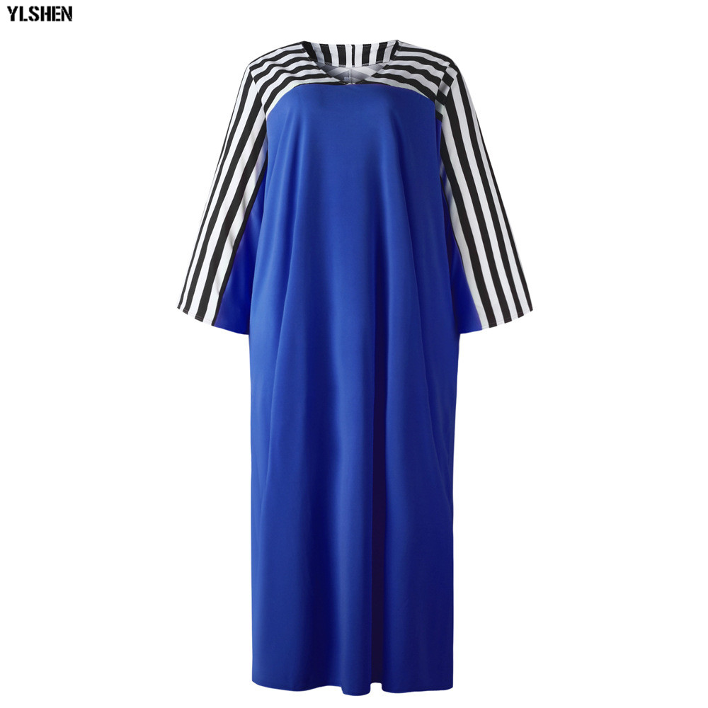 Super Size African Dresses for Women Dashiki Stripe African Clothes New Bazin Riche Sexy V-neck Long Africa Dress Woman Clothing 24