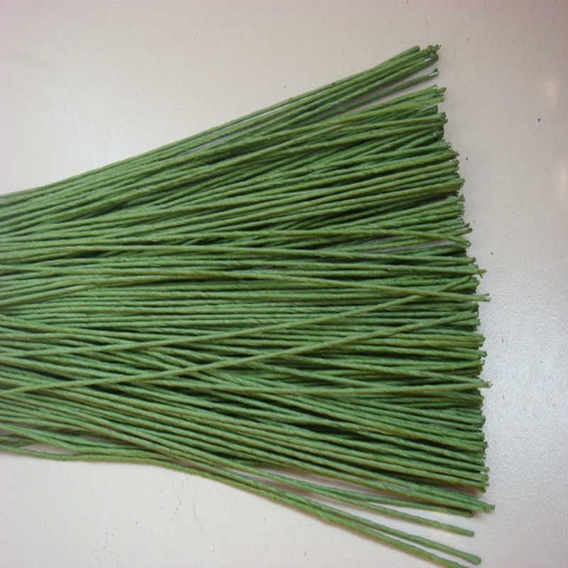 25 teile/los Blume Stub Vorbauten Papier Grün Floral Band Eisen Draht Künstliche Blume Stub Vorbauten Handwerk Decor Seife Blumen Halten stem