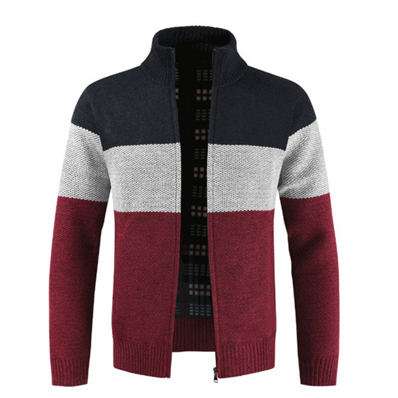 Autumn Winter Mens Cotton Cardigan Mandarin Collar Patchwork Zipper Warm Thick Clothes Knitted Casual Male Coats Dropshopping