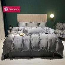 Sondeson Luxury 100% Silk Dark Gray Bedding Set Healthy Skin Duvet Cover Bed Linen Pillowcase Flat Sheet Or Fitted Sheet Set