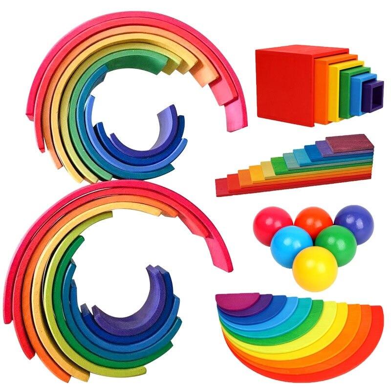 Children Wooden Rainbow Blocks  Wooden Balls Dolls Rainbow Building Stacking Blocks Montessori Color Sort Educational Toy