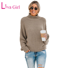 LIVA GIRL Winter Autumn Casual Women Oversized Turtleneck Sweaters Warm Chunky Solid Ladies Long Sleeve Sweater Female Pullover