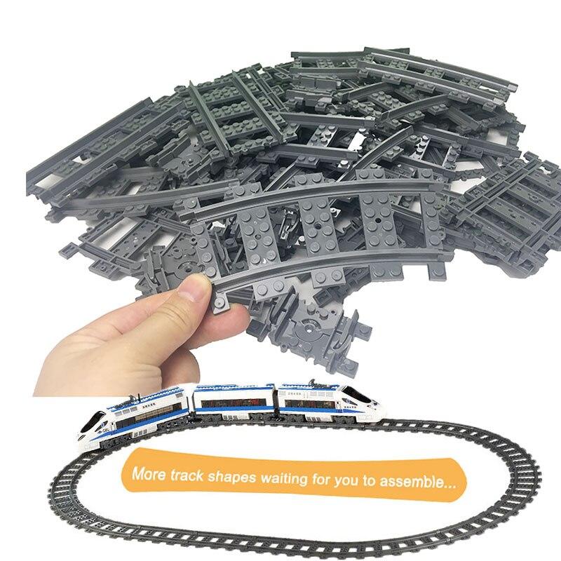 10-100Pcs City Trains Track Rail Straight Rails Building Legoed Blocks Bricks