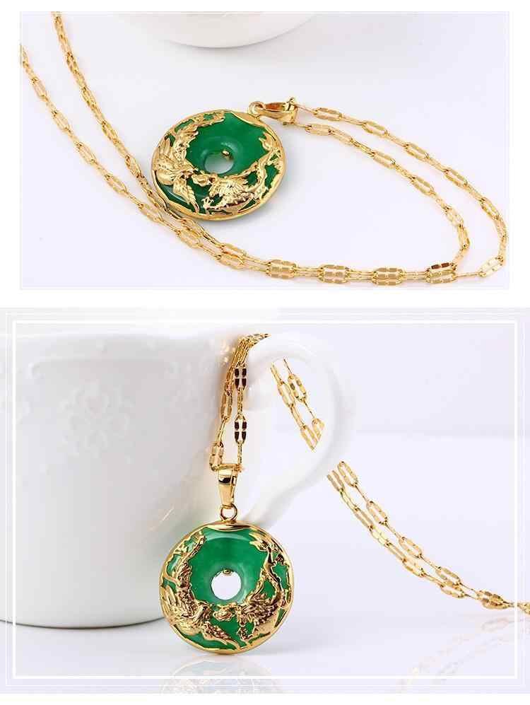 14K złoty naszyjnik szmaragdowe wisiorki dla kobiet luksusowe Colgante De 925 Mujer zielony Jade Emerald wisiorek Topaz kamień szlachetny naszyjniki