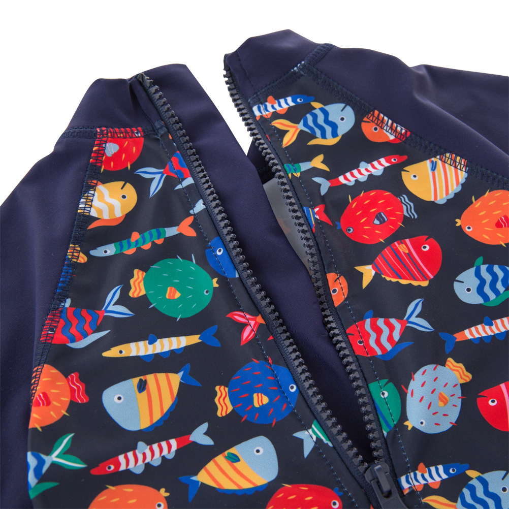 KID'S Swimwear Boys' Cotton One-piece Swimsuit Dark Blue School Of Fish Long Sleeve Swimwear Large Children Beach Coat With Cap