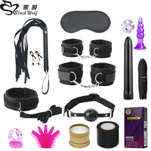 16pcs Toys Kits For Women Men Handcuff Nipples Clamps Whip Spanking Sex Silicone Metal Anal Plug Butt BDSM Vibrator Bondage Set