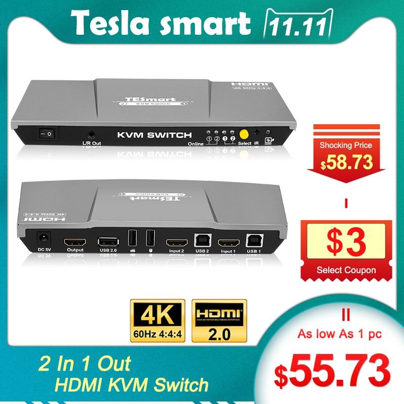 KVM Switch 4K 60Hz HDMI KVM Switch Tesla Smart HDMI KVM Switch Support 3840*2160/4K*2K And USB 2.0 Ports Keyboard And Mouse