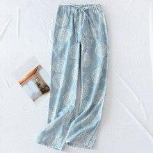 Mulheres pijamas calças de algodão gaze casa calças impressão estilo japonês solto perna larga sweatpants sleepwear