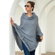 Women Winter Sweater Cloak Fleece Long Sleeve O Neck Warm Windproof Lady Streetwear Cape Clothes