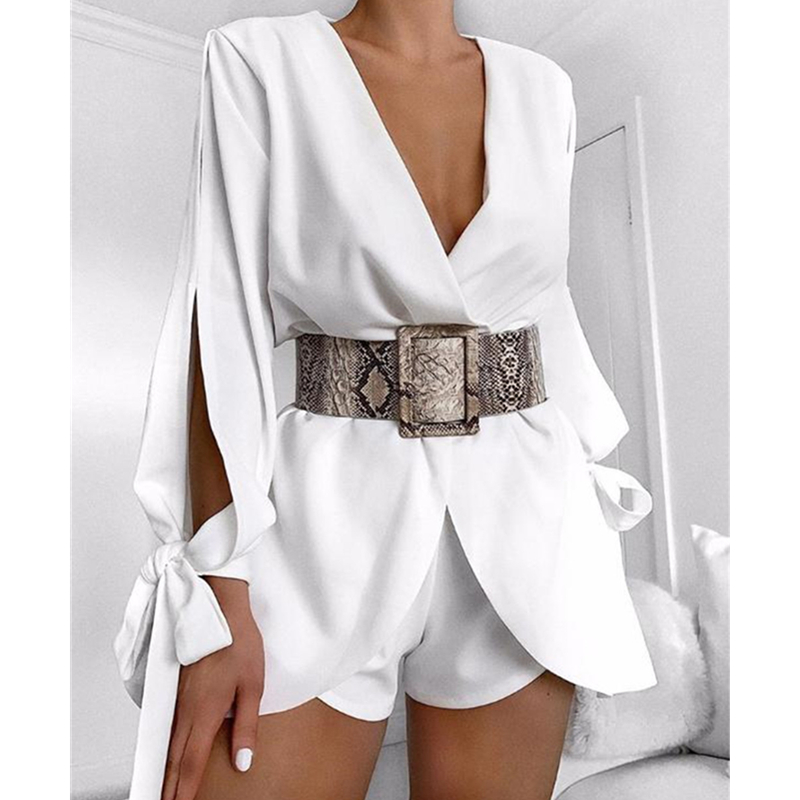 Women Sexy Solid Playsuit Deep V-Neck Long Sleeve Jumpsuit Office Lady Romper Elegant Short Pants Overalls For Women Clothing