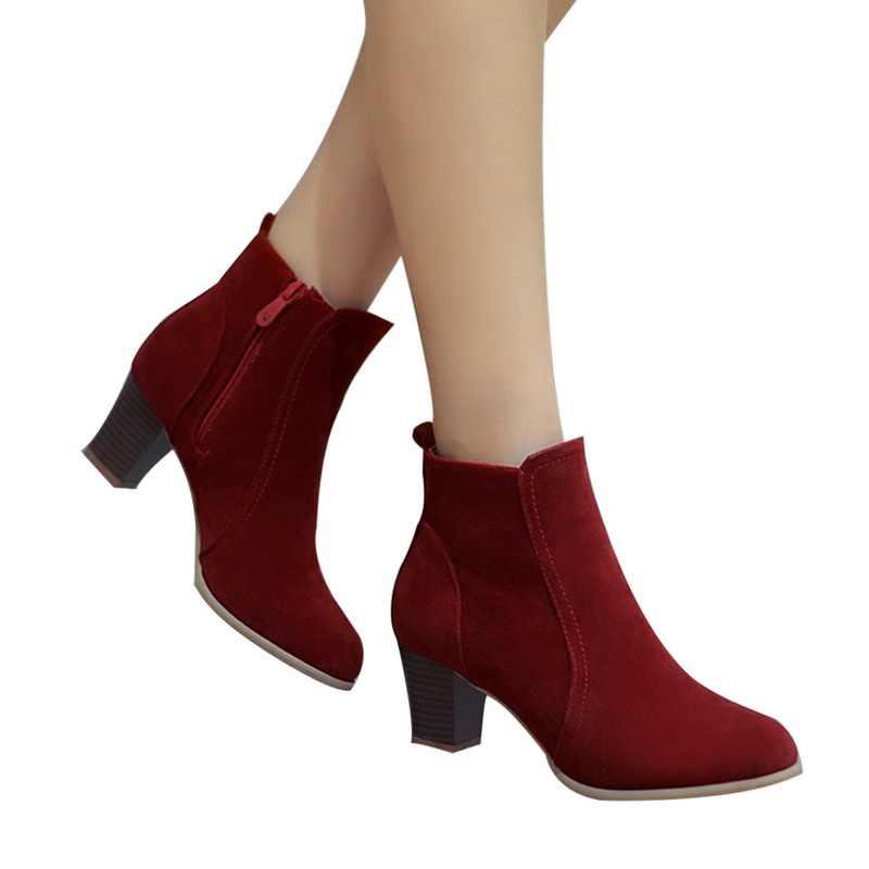 SHUJIN kadın yarım çizmeler 2019 moda süet deri çizmeler yüksek topuk bayanlar ayakkabı yarım çizmeler kadın ayakkabı için Dropshipping