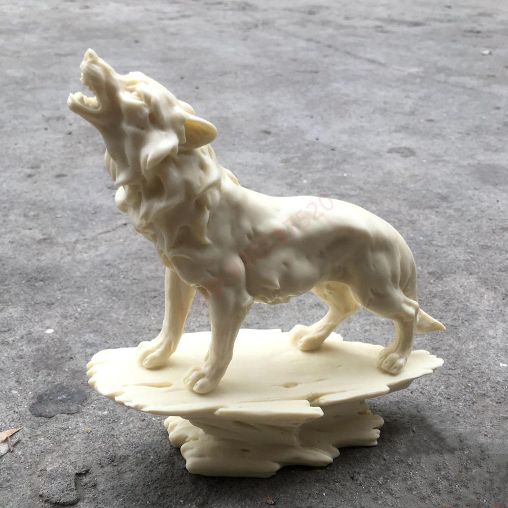 Marfim natural coco frutas, escultura animal lobo ornamentos, decoração de casa, artesanato criativo moderno