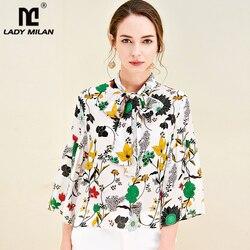 100% чистый шелк Женские Подиумные рубашки воротник с бантом 3/4 рукава с цветочным принтом модные повседневные рубашки топы