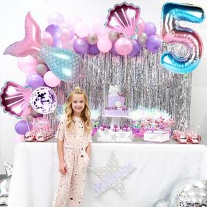 HUIRAN Mermaid Theme Party Decorations Little Mermaid Party Supplies Girl Happy Birthday Party Decoration Kid Baby Shower Events