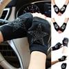 Winter Gloves Women Rhinestone Skull A+ Diamond Crown Half Finger Warm Knitted Black Mittens students Gants Femme 2