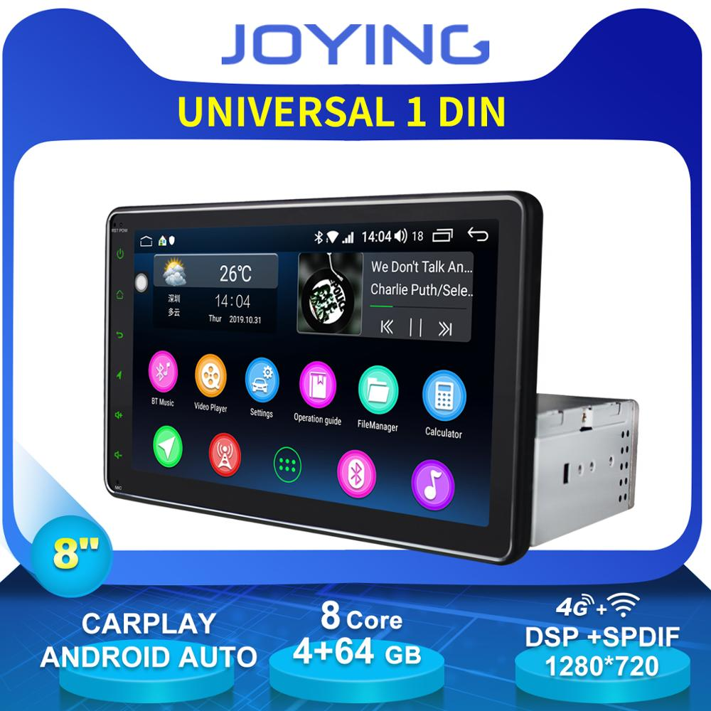 Joying 8Single 1 Din Android Radio Autoradio Car Head Unit Octa Core 4GB+64GB GPS Multimedia Player 4G Modem Rear View Camera image