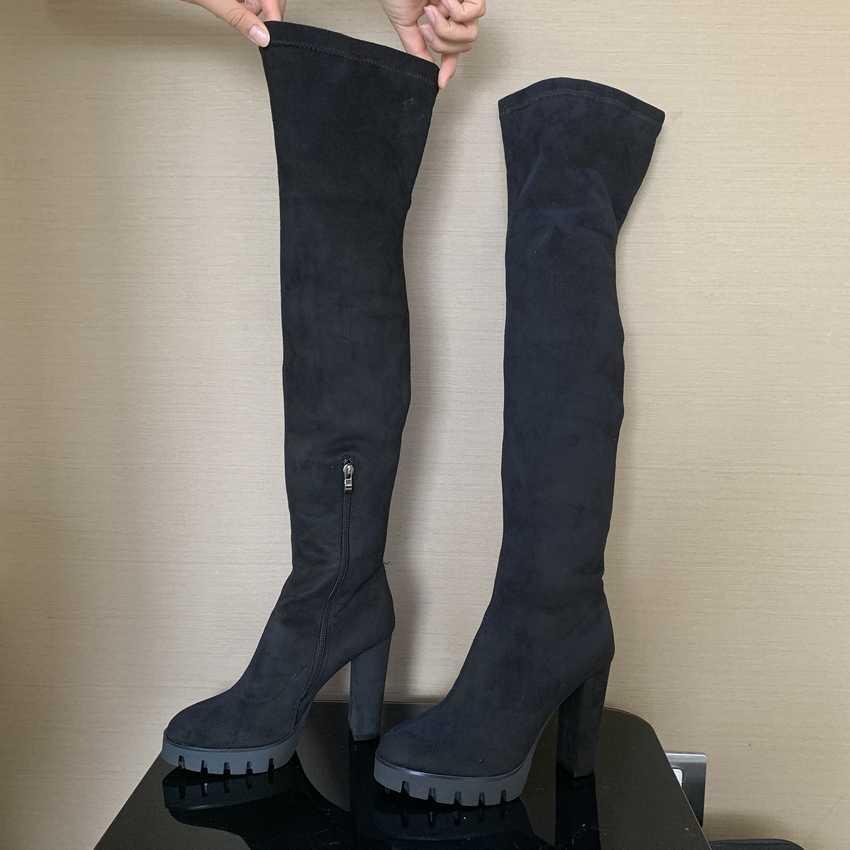 11CM tacones altos botas de invierno mujer muslo alto botas de nieve mujer piel sintética zapatos de tacón alto Mujer sobre el botas de rodilla para mujer