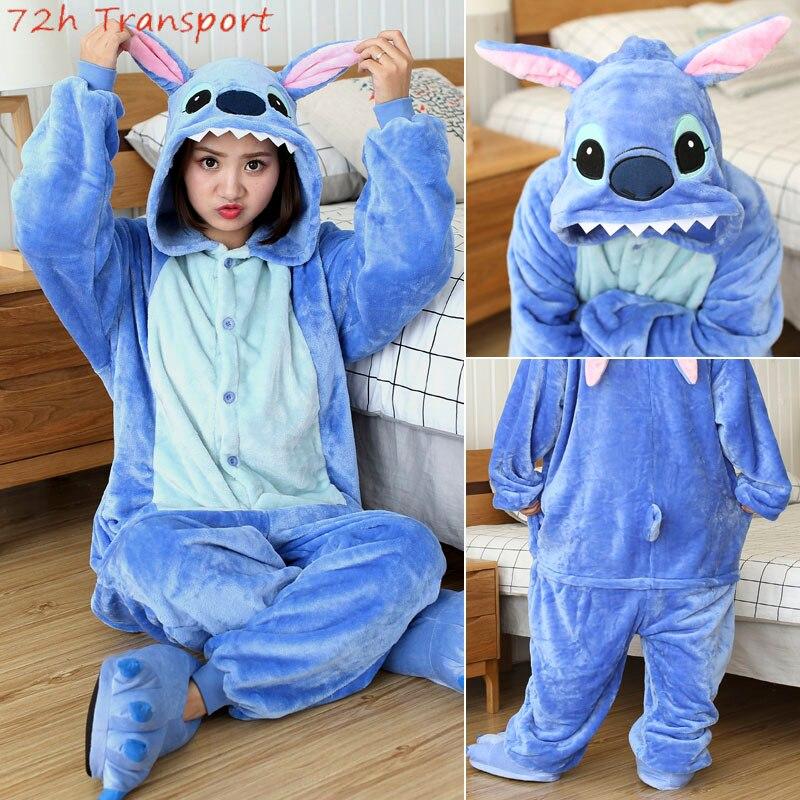 Kigurumi zima Stitch piżamy dorosłych jednorożec zwierząt piżamy Totoro Onesies Unisex flanelowe Nightie kobiece ubrania domowe zestawy