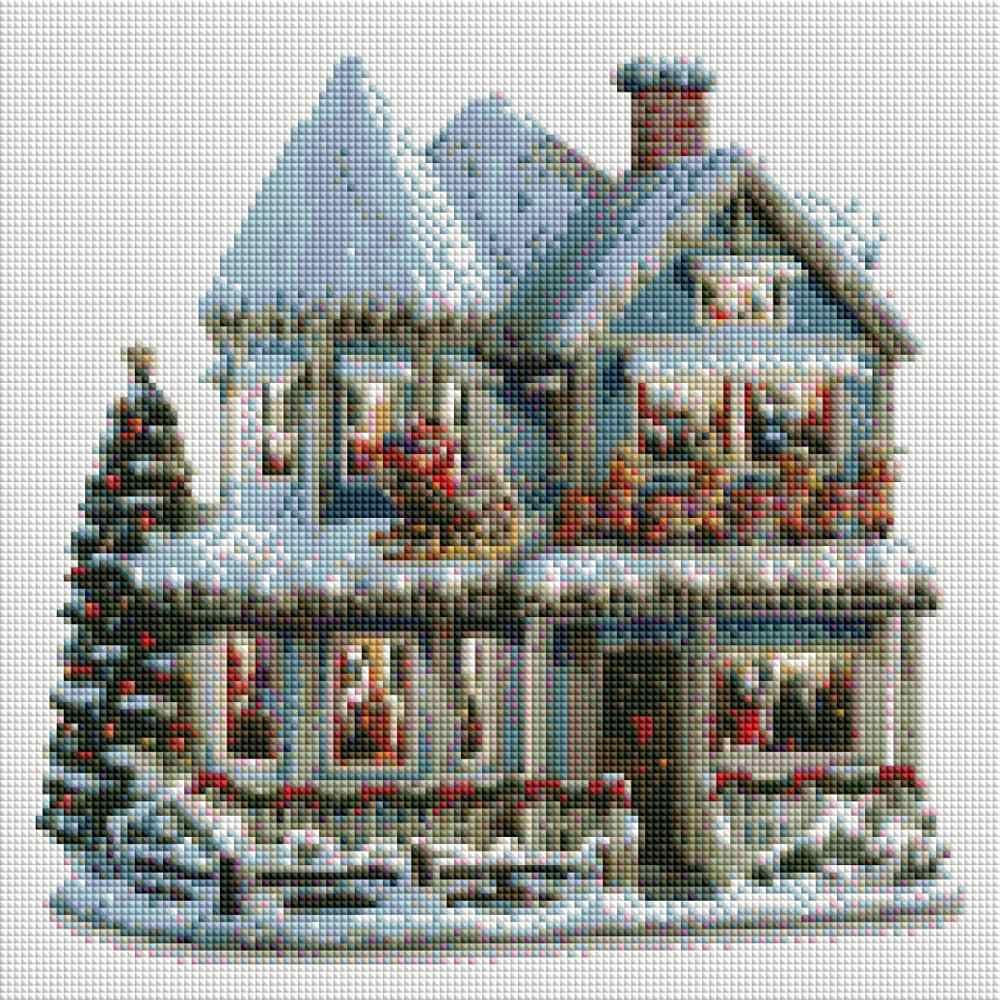 YOGOTOP Diy diament malarstwo Cross zestaw do szycia 5D diament mozaika dekoracyjne pełny haft diamentowy boże narodzenie śnieg dom ZB966