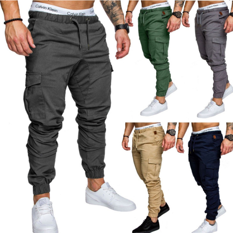 Thin Summer Men Solid Color Casual Pants Patchwork Sweatpants Male Cargo Pants Multi-pocket Sportwear Mens Joggers