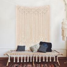 Boho Wedding Macrame Curtain Tapestry Cotton Handmade Wall Hanging Backdrop DIY Room Rustic Wedding Party Decoration DA