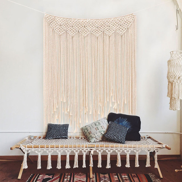 Boho Wedding Macrame Curtain Tapestry Cotton Handmade Wall Hanging Backdrop DIY Room Rustic Wedding Party Decoration DA
