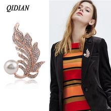 QIDIAN Japan Korea Version Exquisite Fashion Rhinestone Plant Flowers Brooch Jewelry Male Female  Clothing Accessories Gift