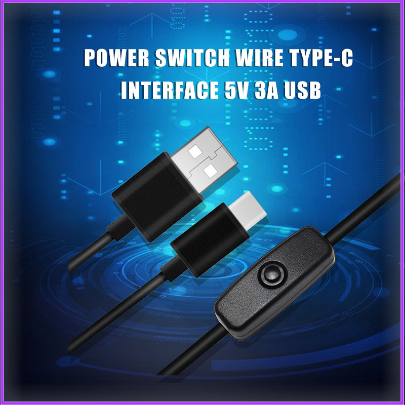Raspberry Pi 4 Power Switch Line Type-c Interface 5V 3A USB Power Supply Line RPI125