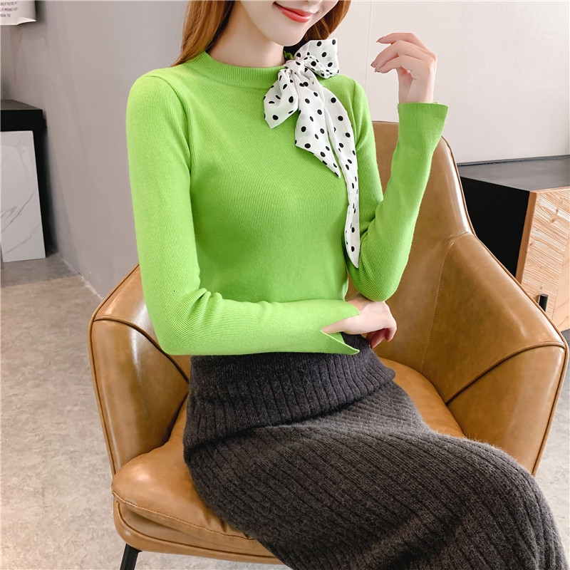 Women Knit Sweater Pullover Autumn Winter Clothes New Leopard Bow Tie Slim Pull Knitwear Sweater Jumper Long Sleeve Female Tops 2