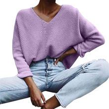 Women Autumn Winter Knitted Pullovers Long Sleeve V-neck Cas